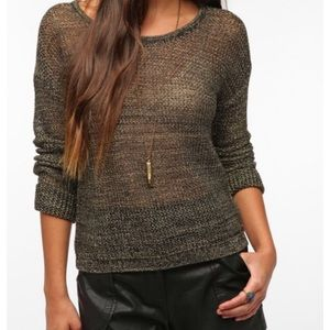 💙 2/30$ URBAN OUTFITTERS Grey Mesh Knit Sweater